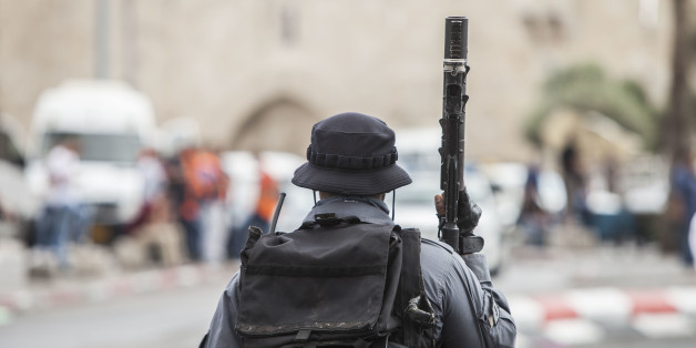 Israeli riot policeman is securing a scene of an attack where earlier a 16 year old Palestinian stabbed two Jewish men and later was shot by Israeli security personnel near Damascus Gate outside the old city quarter in Jerusalem, on October 10, 2015.***ISRAEL OUT*** (Photo by Omer Messinger/NurPhoto) (Photo by NurPhoto/NurPhoto via Getty Images)