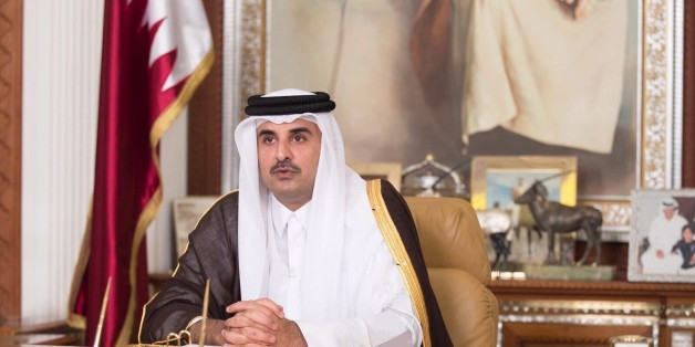 DOHA, QATAR - JULY 22: (----EDITORIAL USE ONLY  MANDATORY CREDIT - 'QATAR EMIRATE COUNCIL / HANDOUT' - NO MARKETING NO ADVERTISING CAMPAIGNS - DISTRIBUTED AS A SERVICE TO CLIENTS----) Emir of Qatar Sheikh Tamim bin Hamad Al Thani delivers a speech on National television, in Doha, Qatar on July 22, 2017.  (Photo by Qatar Emirate Council / Handout/Anadolu Agency/Getty Images)