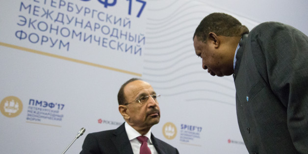 Minister of Energy, Industry and Mineral Resources of the Kingdom of Saudi Arabia  H.E. Khalid A. Al-Falih (L) and Secretary General, Organization of the Petroleum Exporting Countries (OPEC) H.E. Mohammad Sanusi Barkindo attends a session of the St. Petersburg International Economic Forum (SPIEF), Russia, June 2, 2017 (Photo by Igor Russak/NurPhoto via Getty Images)