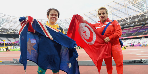 LONDON, ENGLAND - JULY 19:  Raoua Tilili of Tunisia (R/Gold) and Claire Keefer of Australia (L/Silver) celebrate winning their medals the Women's Shot Put F41 Final during Day Six of the IPC World ParaAthletics Championships 2017 London at London Stadium on July 19, 2017 in London, England.  (Photo by Mike Hewitt/Getty Images)