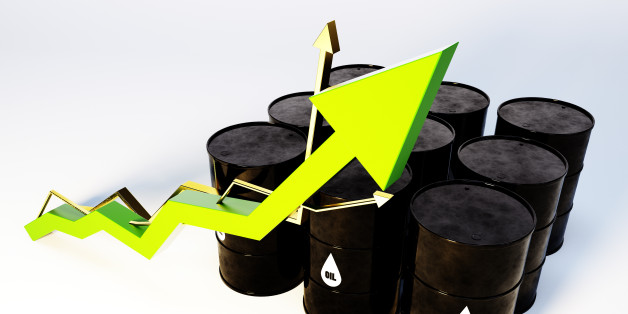 3d image of oil barrels with graph growing
