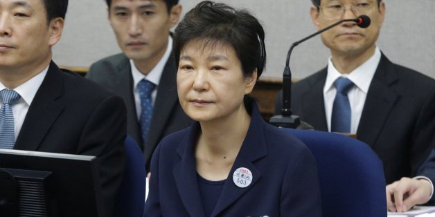 Former South Korean President Park Geun-hye sits for her trial at the Seoul Central District Court in Seoul, South Korea, May 23, 2017. REUTERS/Ahn Young-joon/Pool