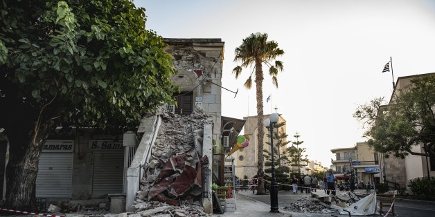 KOS, GREECE - JULY 22: A damaged structure is seen after the 6.6-magnitude richter scale earthquake hit Aegean Sea, in Kos Island of Greece on July 22, 2017. (Photo by Anna Daverio/Anadolu Agency/Getty Images)