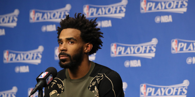MEMPHIS, TN - APRIL 27:  Mike Conley #11 of the Memphis Grizzlies talks to the media during a press conference after Game Six of the Western Conference Quarterfinals against the San Antonio Spurs during the 2017 NBA Playoffs on April 27, 2017 at FedExForum in Memphis, Tennessee. NOTE TO USER: User expressly acknowledges and agrees that, by downloading and or using this photograph, User is consenting to the terms and conditions of the Getty Images License Agreement. Mandatory Copyright Notice: Copyright 2017 NBAE (Photo by Joe Murphy/NBAE via Getty Images)