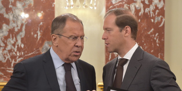 MOSCOW, RUSSIA - JULY 20, 2017: Russia's Foreign Minister Sergei Lavrov (L) and Russia's Industry and Trade Minister Denis Manturov talk ahead of a meeting of the Russian Government. Alexander Astafyev/Russian Government Press Office/TASS (Photo by Alexander Astafyev\TASS via Getty Images)