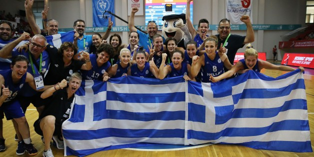 SAMSUN, TURKEY - JULY 29: Players of Greece celebrate their championship after the Women's basketball final match between Greece and Lithuania within the 23rd Summer Deaflympics 2017 at Mustafa Dagistanli Sports Center in Samsun, Turkey on July 29, 2017. (Photo by Metin Aktas/Anadolu Agency/Getty Images)