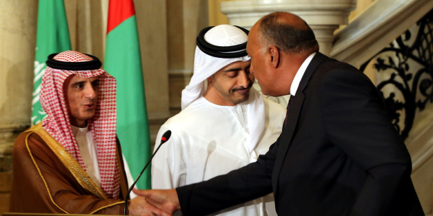 Saudi Foreign Minister Adel al-Jubeir, UAE Foreign Minister Abdullah bin Zayed al-Nahyan and Egyptian Foreign Minister Sameh Shoukry attend a press conference after their meeting that discussed the diplomatic situation with Qatar, in Cairo, Egypt July 5, 2017. REUTERS/Khaled Elfiqi/Pool