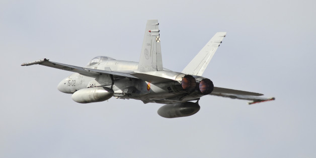 Spanish Air Force EF-18M Hornet taking off with full afterburner from Albacete Air Base, Spain, during NATO TLP.