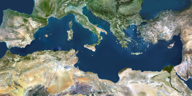 Mediterranean Sea. True colour satellite images showing the Mediterranean Sea. Points of interest include the Alps (just above centre, white), the Blakek Sea (centre right), and the Nile Delta (green, lower right). This image was compiled from data acquired by LANDSAT 5 & 7 satellites.