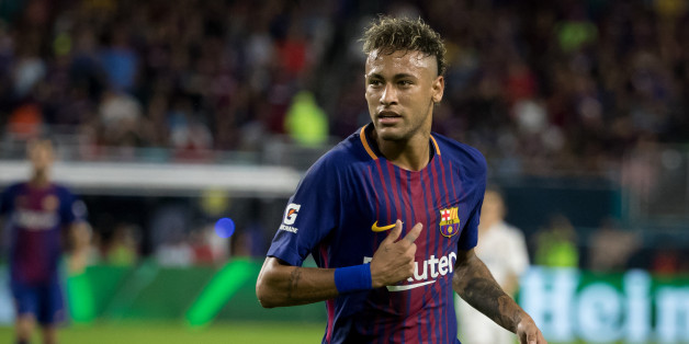 MIAMI, FL - JULY 29: Neymar #11 of Barcelona during the International Champions Cup El Clásico match between FC Barcelona and Real Madrid at the Hard Rock Stadium on July 29, 2017 in Miami, FL. FC Barcelona won the match with a score of 3 to 2. FC Barcelona was the International Champions Cup winners. (Photo by Ira L. Black/Corbis via Getty Images)