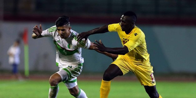 Attal Youcef (L) of Algeria vies Bangoura Alkhaly (R) of Guinea during their friendly international football match between Algeria and Guinée the Mustapha Tchaker stadium in Blida on June 06, 2017. (Photo by Billal Bensalem/NurPhoto via Getty Images)
