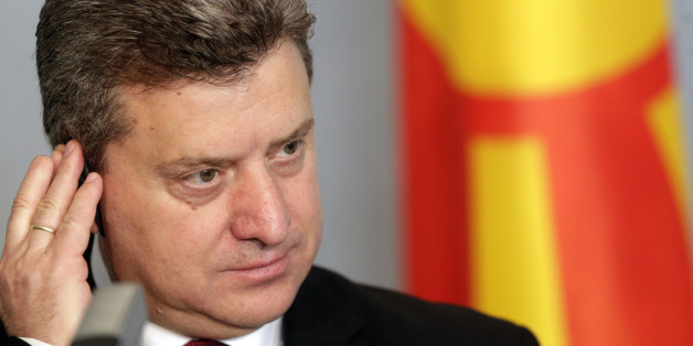 Macedonia's President Gjorge Ivanov listens during a news conference in Riga April 27, 2012. Ivanov is on a three-day state visit to Latvia. REUTERS/Ints Kalnins (LATVIA - Tags: POLITICS)