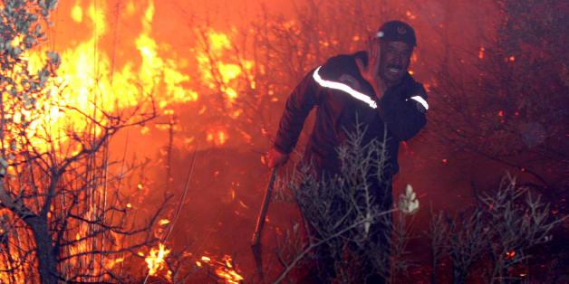 Un pompier se bat contre les flammes à Telemcen, septembre 2007 - Photo d'archive