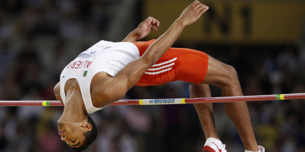 Larbi Bouraada of Algeria competes during the high jump event of the men's decathlon at the IAAF World Athletics Championships in Daegu August 27, 2011. REUTERS/Phil Noble (SOUTH KOREA  - Tags: SPORT ATHLETICS)