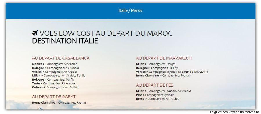 vols low cost italie