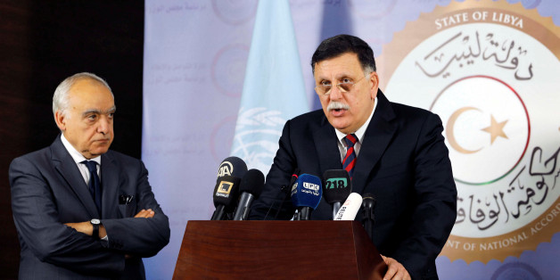 Prime Minister of Libya's Government of National Accord (GNA) Fayez Seraj speaks during a news conference with the new U.N. envoy to Libya Ghassan Salame in Tripoli, Libya August 5, 2017. REUTERS/Hani Amara