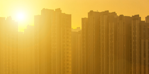High-rise buildings at sunrise.