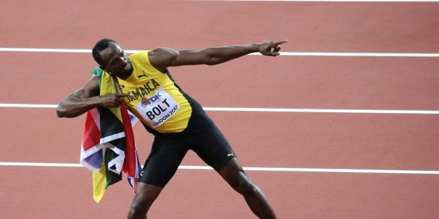 LONDON, UNITED KINGDOM - AUGUST 05: Usain Bolt of Jamaica greets spectator after winning third place in the men's 100m final during the 'IAAF Athletics World Championships London 2017' at London Stadium in the Queen Elizabeth Olympic Park in London, United Kingdom on August 5, 2017. (Photo by Mustafa Yalcin/Anadolu Agency/Getty Images)
