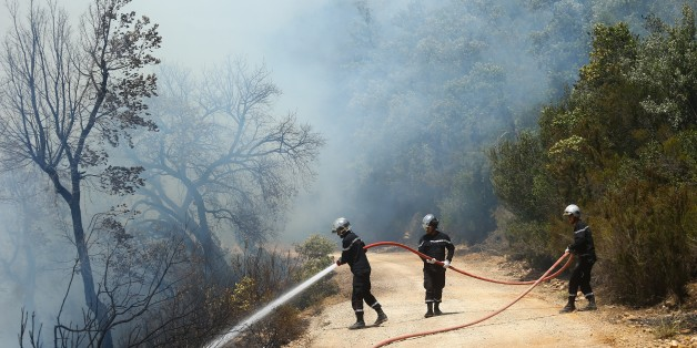 JENDOUBA, TUNISIA - AUGUST 2: Firefighters try to extinguish a forest fire in Jendouba, Tunisia on August 2, 2017. (Photo by Yassine Gaidi/Anadolu Agency/Getty Images)