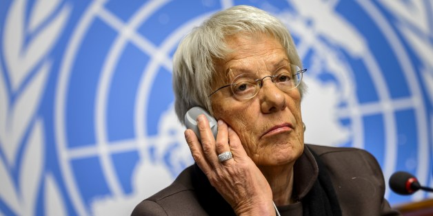 Member of the United Nations (UN) Commission of Inquiry on Syria, Carla del Ponte attends a press conference on March 17, 2015 in Geneva. UN investigators offered to share names from secret lists of alleged Syria war criminals with prosecutors to help end the 'culture of impunity' in the country.    AFP PHOTO / FABRICE COFFRINI        (Photo credit should read FABRICE COFFRINI/AFP/Getty Images)