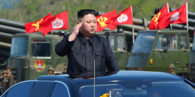 North Korea's leader Kim Jong Un watches a military drill marking the 85th anniversary of the establishment of the Korean People's Army (KPA) in this handout photo by North Korea's Korean Central News Agency (KCNA) made available on April 26, 2017. KCNA/Handout via REUTERS      ATTENTION EDITORS - THIS IMAGE WAS PROVIDED BY A THIRD PARTY. EDITORIAL USE ONLY. REUTERS IS UNABLE TO INDEPENDENTLY VERIFY THIS IMAGE. NO THIRD PARTY SALES. SOUTH KOREA OUT.