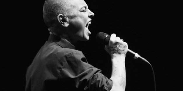 SYDNEY, AUSTRALIA - MARCH 19:   (EDITORS NOTE: Image has been converted to Black & White) Sinead O'Connor performs live for fans  at Sydney Opera House on March 19, 2015 in Sydney, Australia.  (Photo by Don Arnold/WireImage)