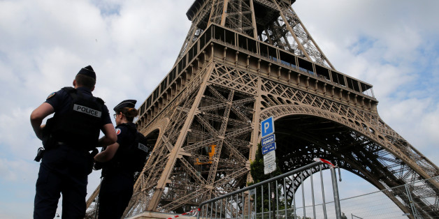 French police patrol near the Eiffel tower as part of security measures in Paris, France, July 13, 2017.  REUTERS/Pascal Rossignol