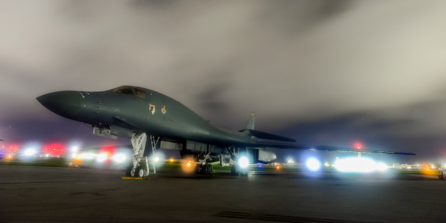 FILE PHOTO: A U.S. Air Force B-1B Lancer bomber sits on the runway at Anderson Air Force Base, Guam July 18, 2017.  U.S. Air Force/Airman 1st Class Christopher Quail/Handout/File Photo via REUTERS. ATTENTION EDITORS - THIS IMAGE WAS PROVIDED BY A THIRD PARTY