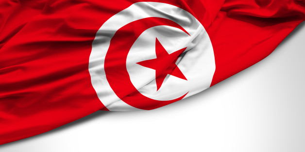 Tunisia waving flag on white background