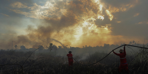 Firefighters try to extinguish a bush fire in Ogan Ilir regency, South Sumatra, Indonesia August 4, 2017 in this photo taken by Antara Foto. Picture taken August 4, 2017. Antara Foto/Nova Wahyudi/ via REUTERS  ATTENTION EDITORS - THIS IMAGE WAS PROVIDED BY A THIRD PARTY. MANDATORY CREDIT. INDONESIA OUT. NO COMMERCIAL OR EDITORIAL SALES IN INDONESIA.