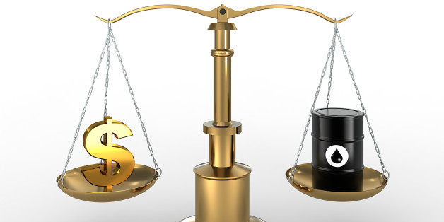 High quality 3d render of Barrel of Oil and Dollar currency symbols on scales. Detailed clipping path included.