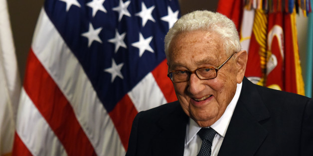 WASHINGTON D.C., May 10, 2016 -- Former U.S. Secretary of State Henry Kissinger is seen at an award ceremony hold by U.S. Defense Secretary Ash Carter honoring him for his years of distinguished public service at the Pentagon in Washington D.C.,the United States, May 9, 2016. U.S. Department of Defense Distinguished Public Service Award is the highest honorary award presented by the DoD to private citizens. (Xinhua/Yin Bogu via Getty Images)