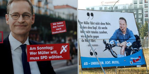 Die AfD beschwert sich, dass ihre Wahlplakate vor den Augen des Berliner Ordnungsamts abgehangen worden seien. Dabei verdrehen sie die Wahrheit