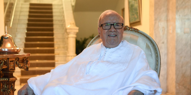 Tunisian President Beji Caid Essebsi poses for a picture in traditional costume at the official house of the Tunisian president in Carthage on July 25, 2017 prior to heading out to celebrate the 60th anniversary of the proclamation of the Tunisian Republic upon the abolition of the monarchy by the National Assembly. / AFP PHOTO / FETHI BELAID        (Photo credit should read FETHI BELAID/AFP/Getty Images)