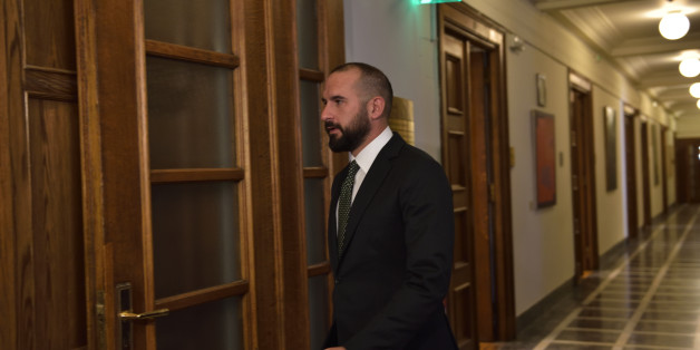 HELLENIC PARLIAMENT, ATHENS, ATTIKI, GREECE - 2017/05/04: Minister of State and Government Spokesman Dimitris Tzanakopoulos on his way to the Cabinet. (Photo by Dimitrios Karvountzis/Pacific Press/LightRocket via Getty Images)