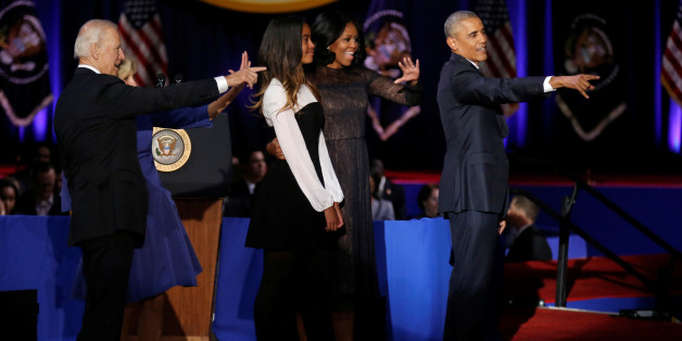 U.S. President Barack Obama, his wife Michelle, their daughter Malia, Vice-President Joe Biden and his wife Jill acknowledge the crowd after President Obama delivered a farewell address at McCormick Place in Chicago, Illinois, U.S. January 10, 2017. REUTERS/John Gress