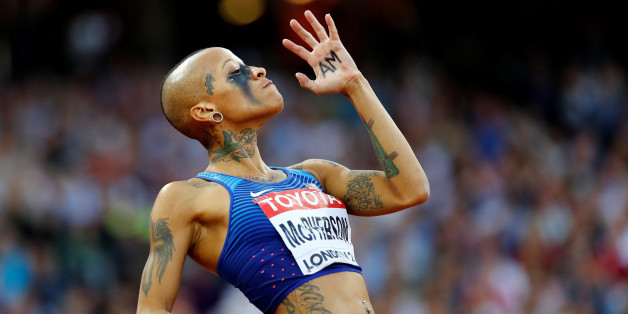 Athletics - World Athletics Championships – women's high jump final – London Stadium, London, Britain – August 12, 2017 – Inika McPherson of the U.S. reacts. REUTERS/Kai Pfaffenbach     TPX IMAGES OF THE DAY