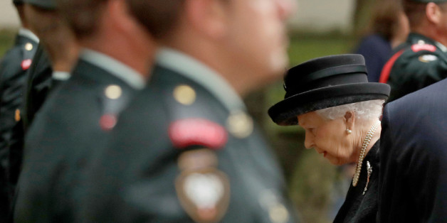 Britain's Queen Elizabeth passes members of the Second Battalion, Princess Patricia's Canadian Light Infantry (2PPCLI), as she arrives to attend the funeral service of Patricia Knatchbull, the Countess Mountbatten of Burma, at St Paul's Church in Knightsbridge, London, Britain June 27, 2017. REUTERS/Matt Dunham/Pool