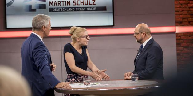 """RTL-""""Wahlarena"""": Schulz will erklären, wie er Druck auf Trump machen will – doch ihm unterläuft ein Patzer"""