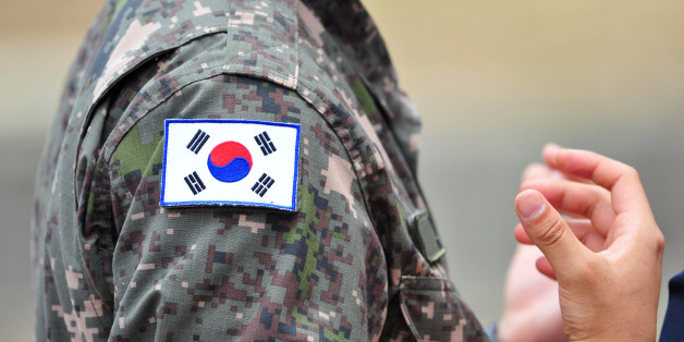 The Korean national flags attached to Republic of Korea army soldier's uniforms
