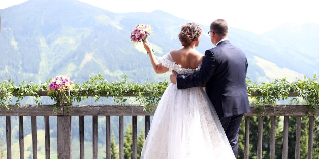 SAALBACH-HINTERGLEMM, AUSTRIA - JULY 22: Bridegroom Torsten Koch and his wife bride Annika Koch during the wedding of Torsten Koch and Annika Hofmann at Wiesergut Alm on July 22, 2017 in Saalbach-Hinterglemm, Austria. (Photo by Gisela Schober/Getty Images)