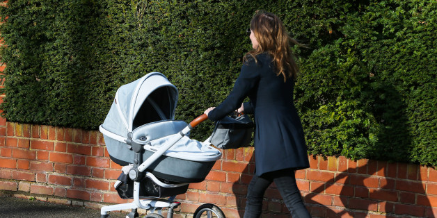 LONDON, ENGLAND - MARCH 06:  Geri Horner seen walking in North London pushing her new baby boy Montague, in a Aston Martin Silver Cross Surf pram which retails £3,000 in Harrods, on March 6, 2017 in London, England.  (Photo by Ian Lawrence/GC Images)