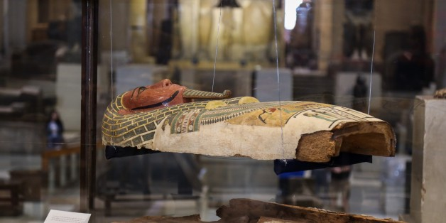 CAIRO, EGYPT - JANUARY 17: A wooden sarcophagus coffin dated 22nd to 25th dynasties is on display at Egyptian Museum in Cairo, Egypt on January 17, 2017. United States Embassy in Cairo provide $130,000 to help in research and assessment of the current condition, and conservation and presevation of the Museum's collection of 600 wooden coffins  (Photo by Ibrahim Ramadan/Anadolu Agency/Getty Images)