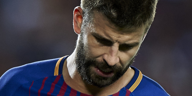 BARCELONA, SPAIN - AUGUST 13:  Gerard Pique of Barcelona looks on during the Supercopa de Espana Supercopa Final 1st Leg match between FC Barcelona and Real Madrid at Camp Nou on August 13, 2017 in Barcelona, Spain.  (Photo by fotopress/Getty Images)