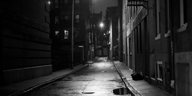 Dark street in the North End section of Boston, Massachusetts