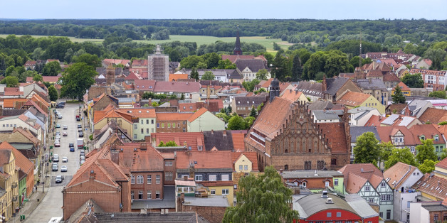 View from the tower of the church to the small town of Juterbog. There are the alleyways, half-timbered houses and traditional brickwork.