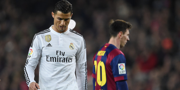 Cristiano Ronaldo of Real Madrid and Lionel Messi of Barcelona during the La Liga match between Barcelona and Real Madrid at the Estadio Camp Nou, Barcelona, Spain. Photo: Visionhaus/Ben Radford (Photo by Ben Radford/Corbis via Getty Images)