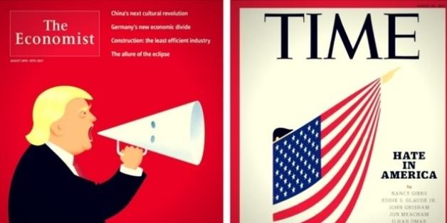 """""""Time"""", """"Economist"""" und """"New Yorker"""": Drei Magazincover zum Rechtsextremismus in den USA"""