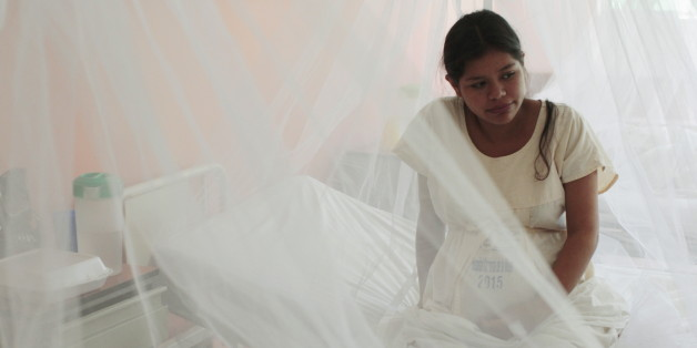 A pregnant woman looks on as mosquito nets are used at the Women National Hospital in an effort to prevent being bitten by mosquitoes that might carry Zika, Dengue and Chikungunya viruses, in San Salvador, El Salvador February 5, 2016. REUTERS/Jose Cabezas