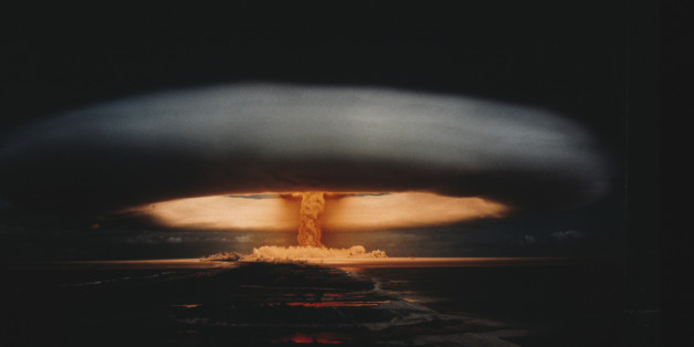 Nuclear explosion and atomic mushroom cloud. the image depicts a nuclear exercise in Mururoa.  | Location: Mururoa, French Polynesia, France.  (Photo by Kipa/Sygma via Getty Images)